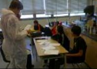 Grade 9 students at College Avenue SS being asked questions about their landing site. (Credit: Ryan Dunne)