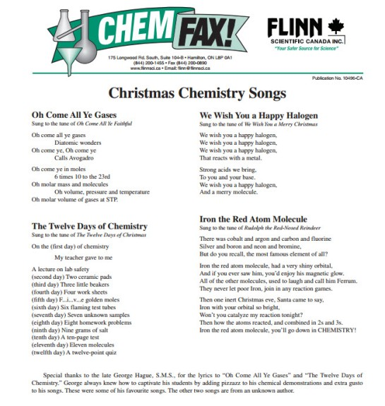 chemistry songs