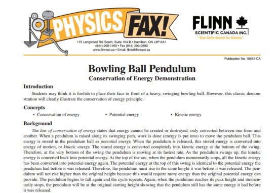 bowling ball pendulum