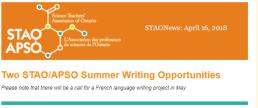 STAO Summer WritingOpportunities